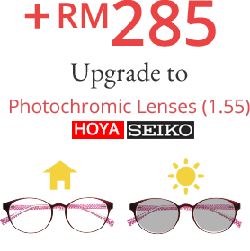 + RM 285 Upgrade to Photochromic Lenses (1.55) HOYA